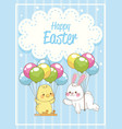 happy easter card with rabbit and chick in vector image vector image
