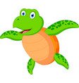happy sea turtle cartoon vector image