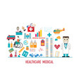 healthcare and medical icons in flat style vector image