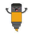 highlighter marker happy cartoon character icon vector image