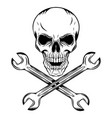human skull with crossing wrenches vector image vector image