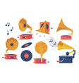 icons set gramophone player and vinyl disks vector image