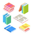 isometric books and notepad isolated on white vector image vector image
