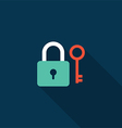 Lock and key icon flat design vector image vector image