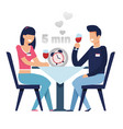 man and woman on fast dating in 5 minutes cartoon vector image