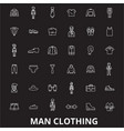 man clothing editable line icons set on vector image vector image