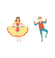people in colorful costumes dancing at folklore vector image