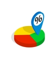 Pie chart icon isometric 3d style vector image vector image