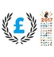 Pound Laurel Wreath Icon With 2017 Year Bonus vector image