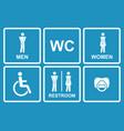restroom icons menwomen lady man babys vector image vector image