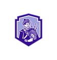 Scotsman Bagpiper Play Bagpipes Retro Shield vector image vector image