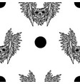 seamless pattern with a human skullwings vector image vector image