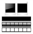 Set of polaroid photo frames and film strips vector image vector image