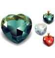Set of Shiny Valentines Diamond Hearts vector image vector image