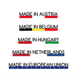 Simple logos Made in Austria Made in Belgium vector image
