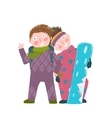 Skiing Sport Child Girl and Boy in Winter Clothes vector image