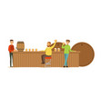 smiling men drinking beer in a bar or pub vector image vector image