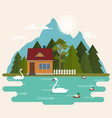summer landscape with forest house on lake vector image vector image