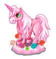 sweet pink unicorn with candy lollipops vector image vector image