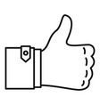 thumb up icon outline style vector image