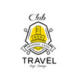 travel club logo design heraldic shield with ship vector image vector image