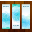 aqua color triangle banners on wooden background vector image