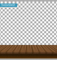 realistic wooden table on a transparent background vector image