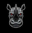 angry rhino head design element for logo label vector image vector image