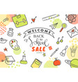 back to school sale banner hand drawn school vector image