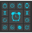 Blue clock icons set vector image vector image
