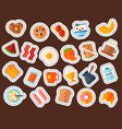 breakfast healthy food meal icons drinks flat vector image