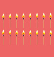 burning match animation sprite on red background vector image vector image
