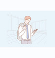 business concept a young happy man in a suit vector image
