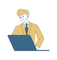 businessman working with laptop contour vector image vector image