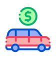 car dollar coin icon outline vector image vector image