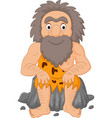 cartoon happy caveman sitting vector image vector image