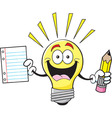 Cartoon light bulb holding a paper and pencil vector image vector image