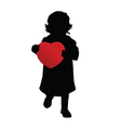 child holding red heart silhouette vector image vector image