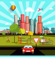 city view with car road people and skyscrapers vector image vector image