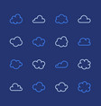 cloud flat line icons clouds symbols for data vector image vector image