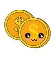 coins money kawaii character vector image
