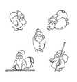 coloring book cartoon christmas set vector image vector image