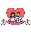 couple wedding love heart pigeons ribbon vector image vector image