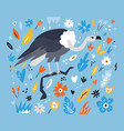 cute hand drawn vulture character with decoration vector image