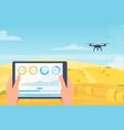 drone smart farm mobile technology cartoon farmer vector image vector image