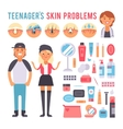 Facial care teenager people defects skin problems vector image vector image