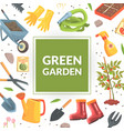 green garden banner template with tools seamless vector image