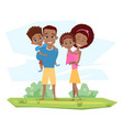 happy black family smiling in nature parents vector image