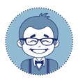 Happy showman or stage director in glasses vector image