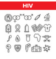 hiv and aids awareness linear icons set vector image vector image